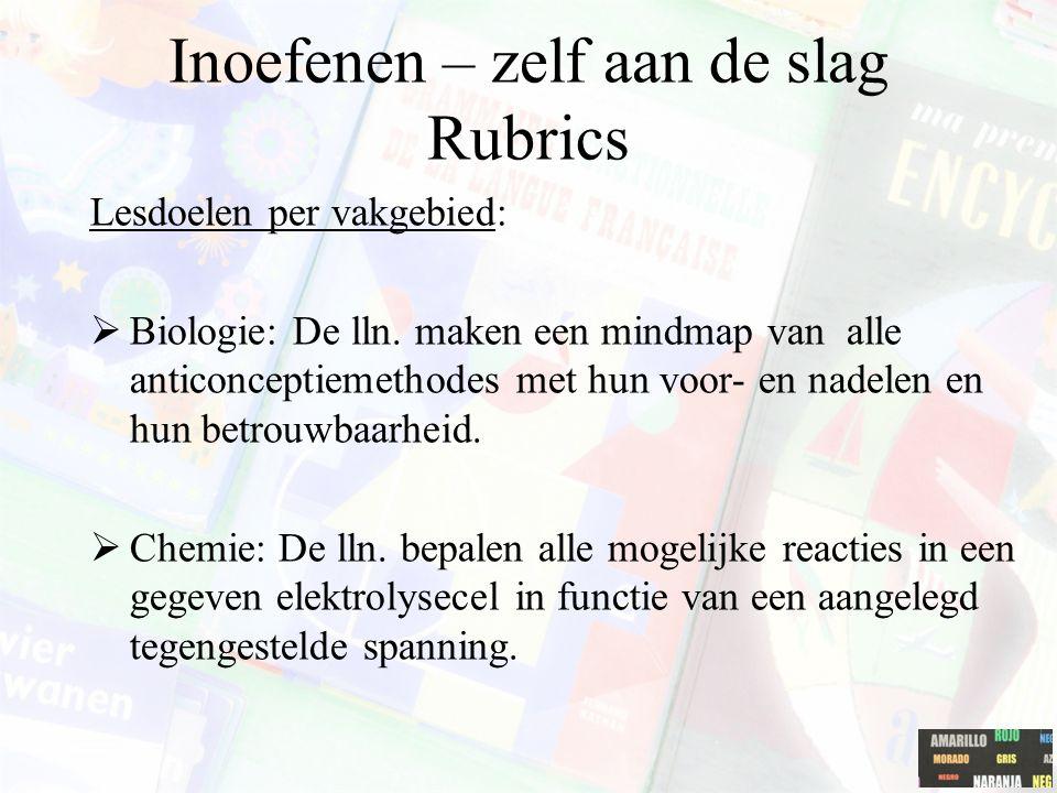 Inoefenen – zelf aan de slag Rubrics Lesdoelen per vakgebied:  Biologie: De lln. maken een mindmap van alle anticonceptiemethodes met hun voor- en na