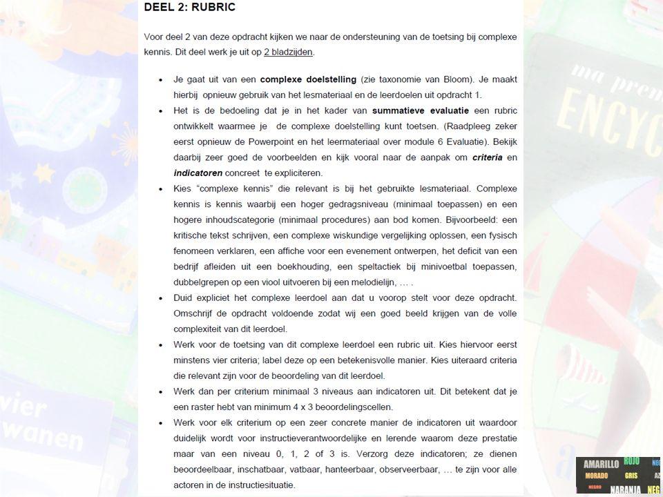 De opdracht bestaat uit de volgende onderdelen:  Voorblad  Tabel met daarin de 15 vragen, opdrachten, instructies + de typering volgens de taxonomie van Bloom + link met de lesdoelen  Complex leerdoel + omschrijving van de opdracht  Uitgewerkte rubric (minimum 4 x 3)  Bijlagen