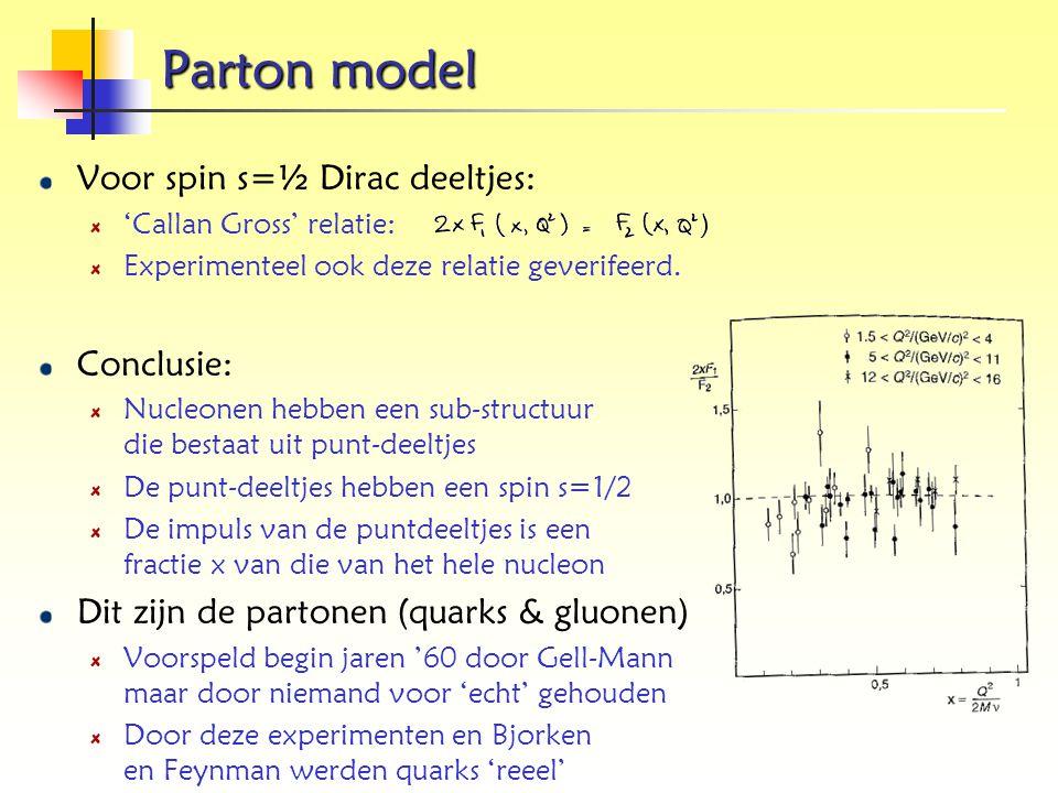 Parton model Voor spin s=½ Dirac deeltjes: 'Callan Gross' relatie: Experimenteel ook deze relatie geverifeerd. Conclusie: Nucleonen hebben een sub-str
