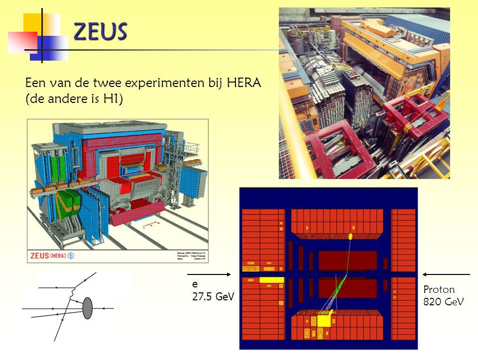 ZEUS Een van de twee experimenten bij HERA (de andere is H1) e 27.5 GeV Proton 820 GeV