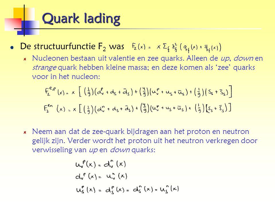 Quark lading De structuurfunctie F 2 was Nucleonen bestaan uit valentie en zee quarks. Alleen de up, down en strange quark hebben kleine massa; en dez