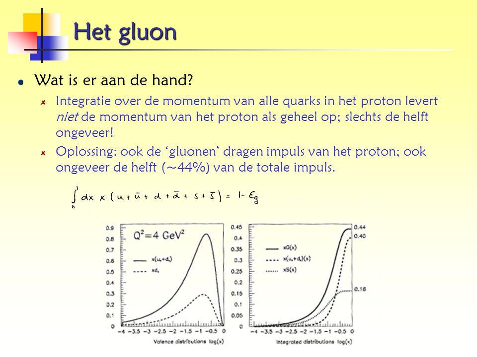 Het gluon Wat is er aan de hand? Integratie over de momentum van alle quarks in het proton levert niet de momentum van het proton als geheel op; slech