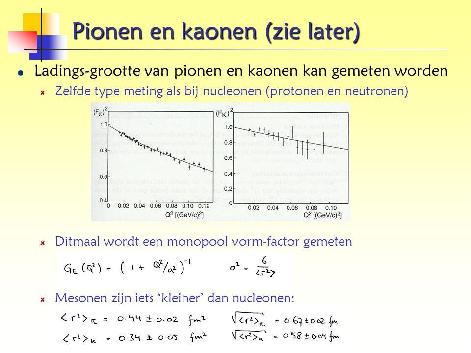 Pionen en kaonen (zie later) Ladings-grootte van pionen en kaonen kan gemeten worden Zelfde type meting als bij nucleonen (protonen en neutronen) Ditm