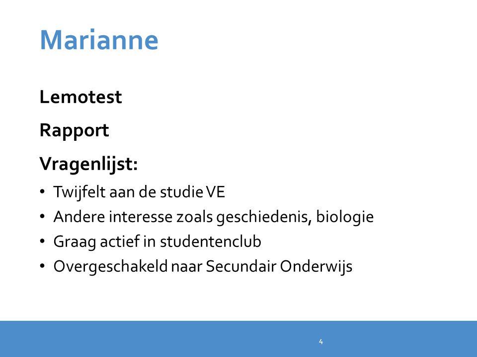 Marianne Lemotest Rapport Vragenlijst: Twijfelt aan de studie VE Andere interesse zoals geschiedenis, biologie Graag actief in studentenclub Overgesch