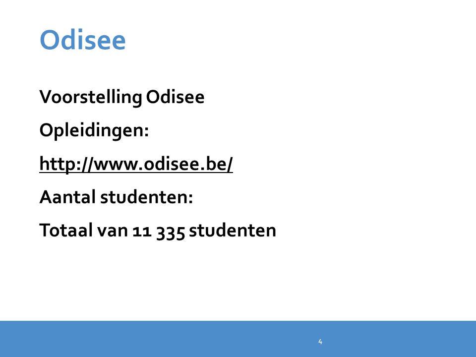 Odisee Voorstelling Odisee Opleidingen: http://www.odisee.be/ Aantal studenten: Totaal van 11 335 studenten 4