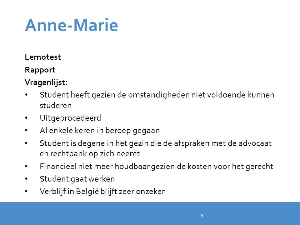 Anne-Marie Lemotest Rapport Vragenlijst: Student heeft gezien de omstandigheden niet voldoende kunnen studeren Uitgeprocedeerd Al enkele keren in bero