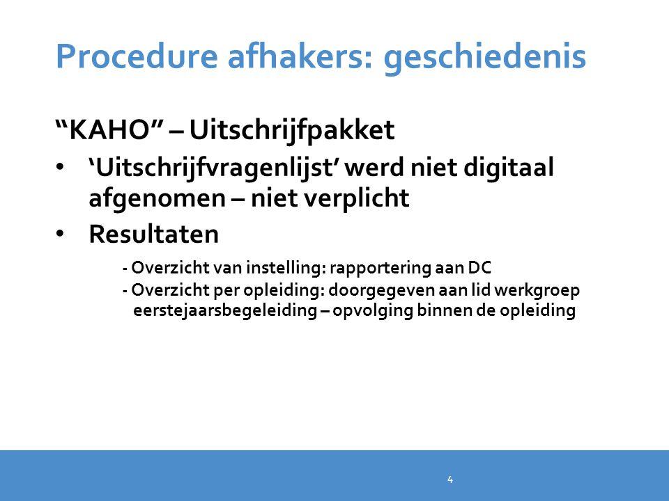 """Procedure afhakers: geschiedenis """"KAHO"""" – Uitschrijfpakket 'Uitschrijfvragenlijst' werd niet digitaal afgenomen – niet verplicht Resultaten - Overzich"""