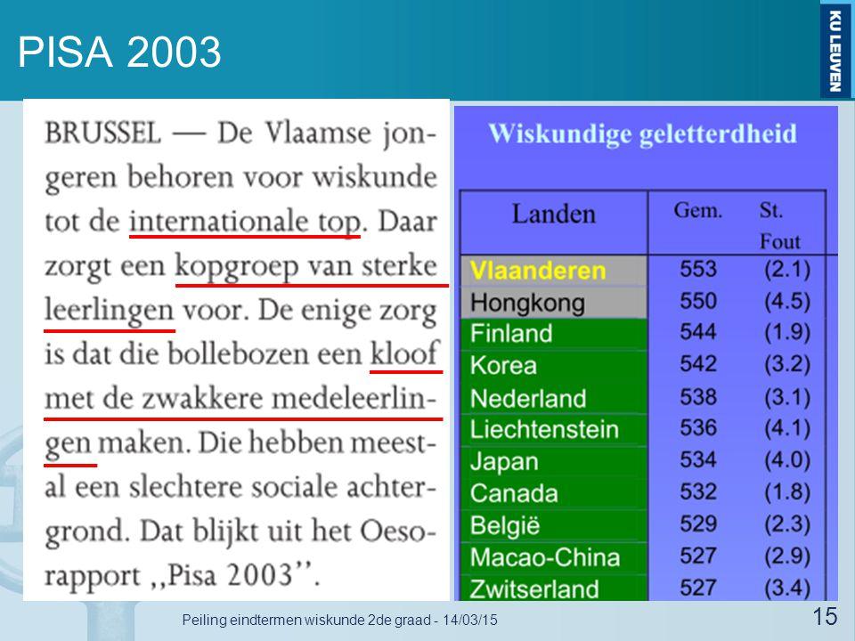 PISA 2003 15 Peiling eindtermen wiskunde 2de graad - 14/03/15