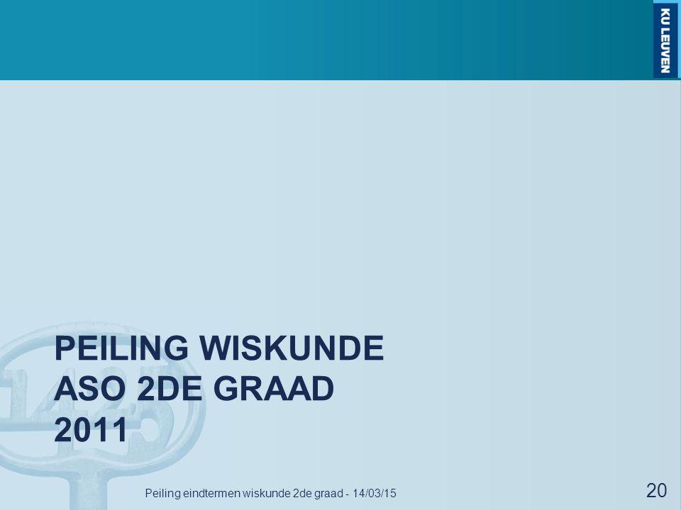 PEILING WISKUNDE ASO 2DE GRAAD 2011 Peiling eindtermen wiskunde 2de graad - 14/03/15 20
