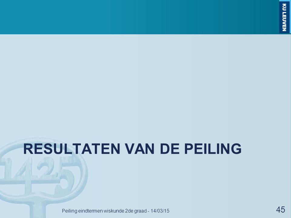 RESULTATEN VAN DE PEILING Peiling eindtermen wiskunde 2de graad - 14/03/15 45