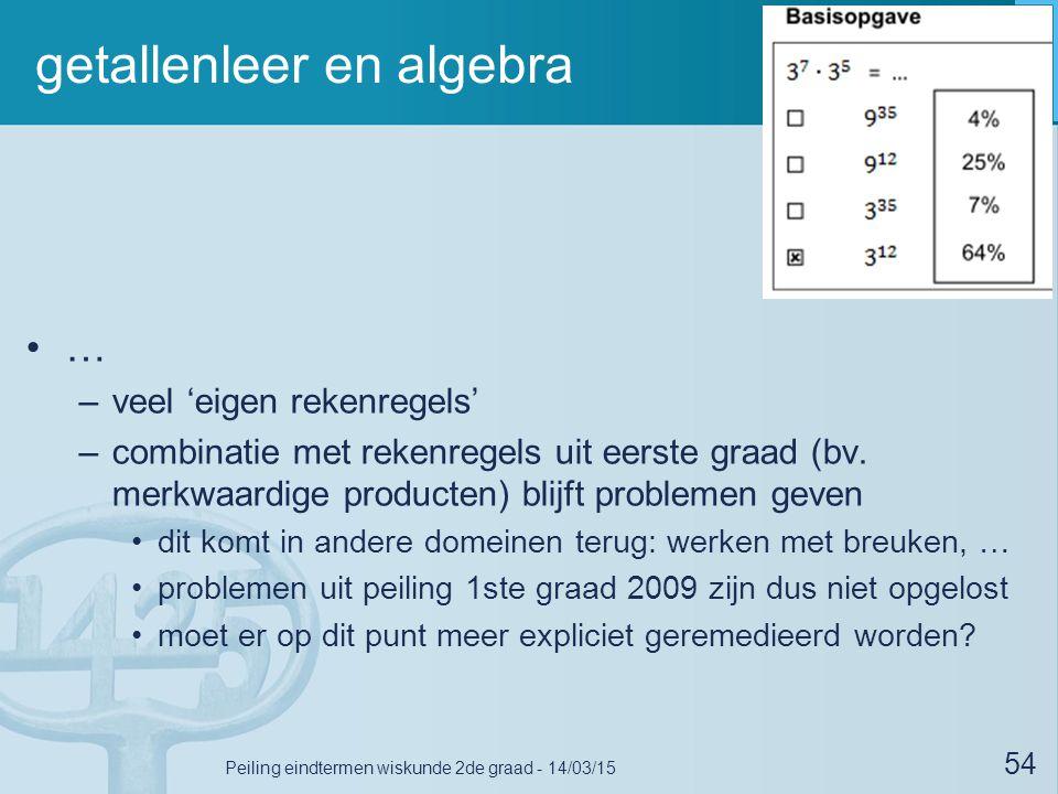 getallenleer en algebra … –veel 'eigen rekenregels' –combinatie met rekenregels uit eerste graad (bv. merkwaardige producten) blijft problemen geven d