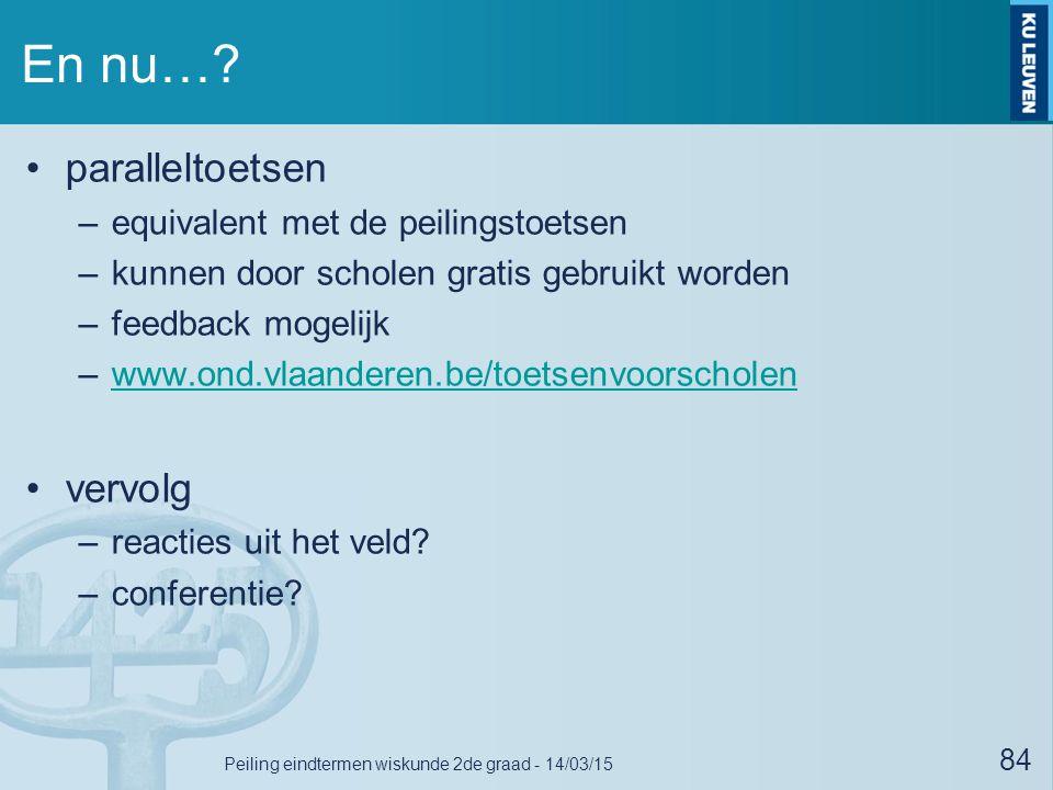 En nu…? paralleltoetsen –equivalent met de peilingstoetsen –kunnen door scholen gratis gebruikt worden –feedback mogelijk –www.ond.vlaanderen.be/toets