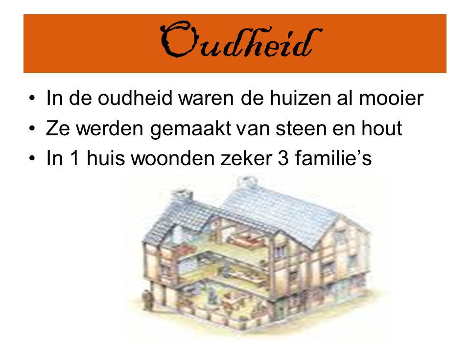 Oudheid In de oudheid waren de huizen al mooier Ze werden gemaakt van steen en hout In 1 huis woonden zeker 3 familie's