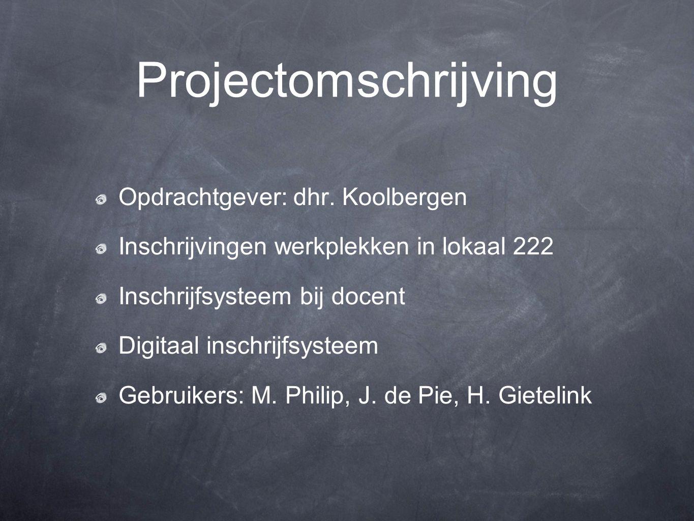 Projectomschrijving Opdrachtgever: dhr.