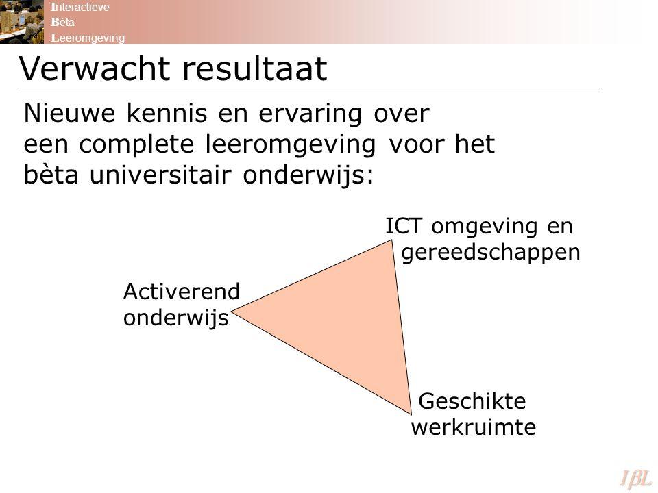 I nteractieve B èta L eeromgeving ILILILIL Verwacht resultaat Nieuwe kennis en ervaring over een complete leeromgeving voor het bèta universitair