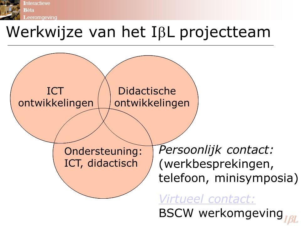 Werkwijze van het IL projectteam I nteractieve B èta L eeromgeving ILILILIL Didactische ontwikkelingen ICT ontwikkelingen Ondersteuning: ICT, didactisch Persoonlijk contact: (werkbesprekingen, telefoon, minisymposia) Virtueel contact: Virtueel contact: BSCW werkomgeving