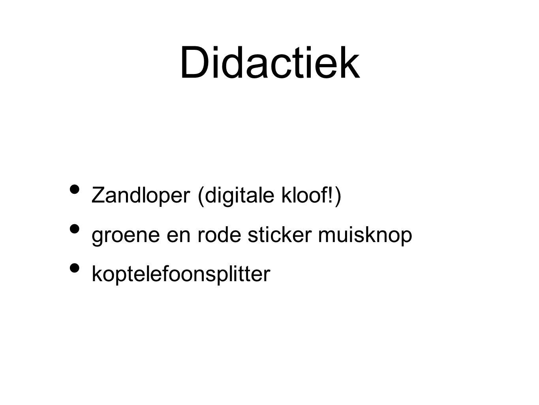 Didactiek Zandloper (digitale kloof!) groene en rode sticker muisknop koptelefoonsplitter