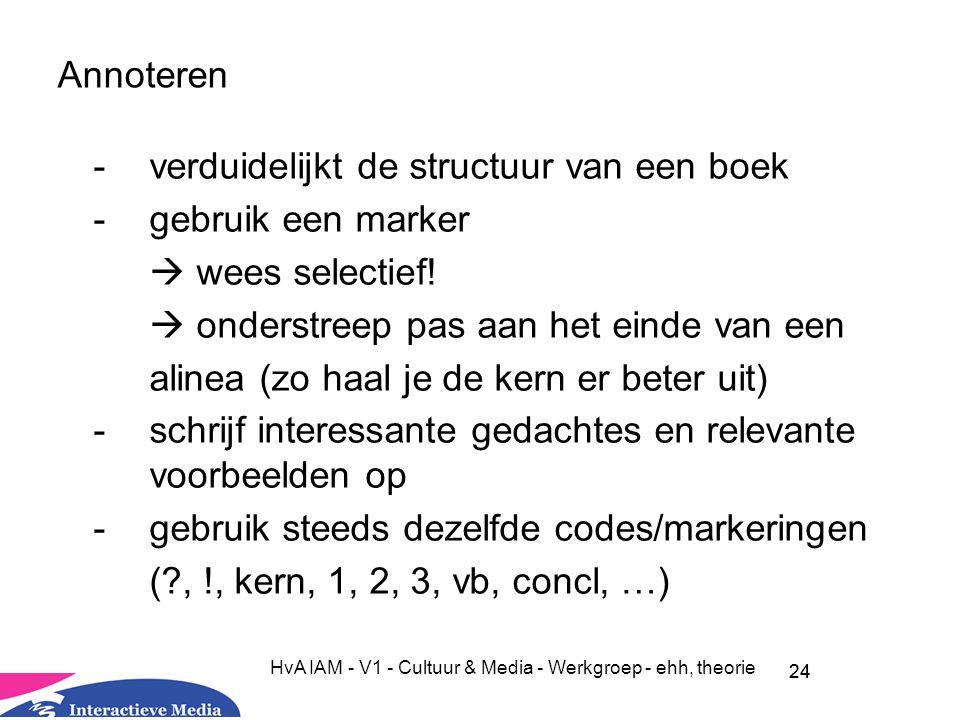24 HvA IAM - V1 - Cultuur & Media - Werkgroep - ehh, theorie Annoteren -verduidelijkt de structuur van een boek -gebruik een marker  wees selectief.