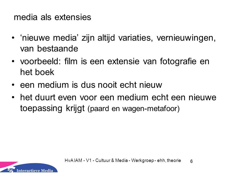6 HvA IAM - V1 - Cultuur & Media - Werkgroep - ehh, theorie media als extensies 'nieuwe media' zijn altijd variaties, vernieuwingen, van bestaande voorbeeld: film is een extensie van fotografie en het boek een medium is dus nooit echt nieuw het duurt even voor een medium echt een nieuwe toepassing krijgt (paard en wagen-metafoor)