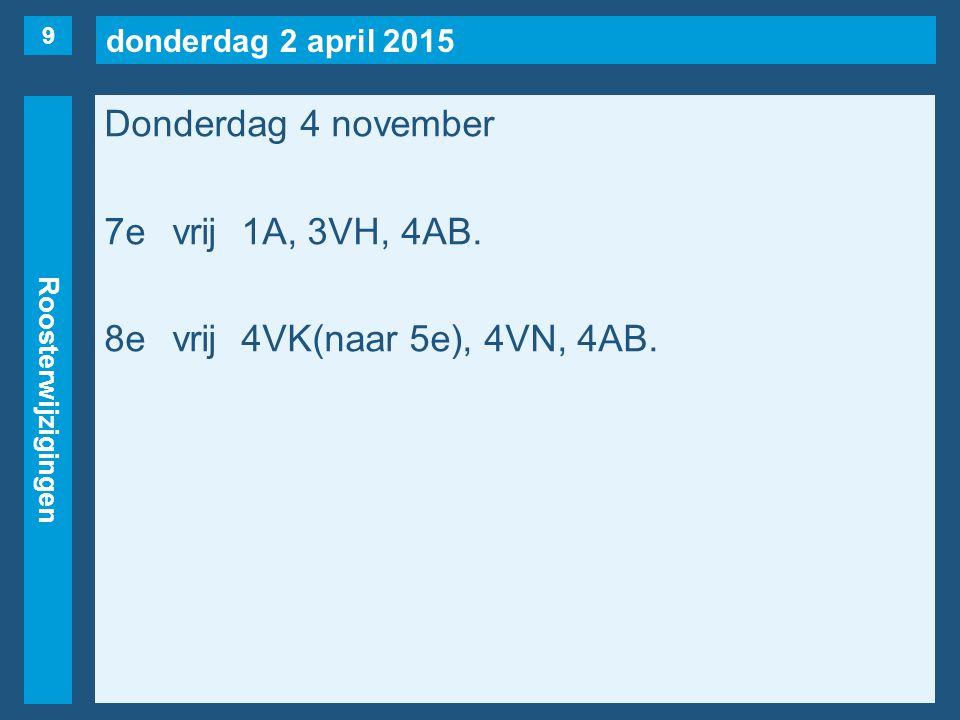 donderdag 2 april 2015 Roosterwijzigingen Donderdag 4 november 7evrij1A, 3VH, 4AB.