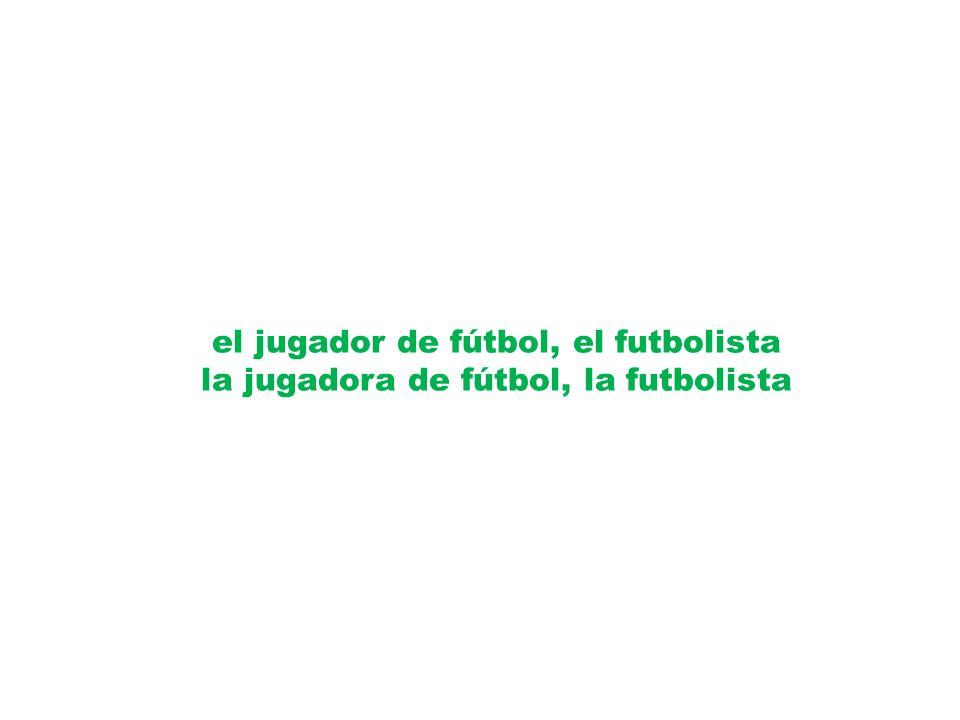 el jugador de fútbol, el futbolista la jugadora de fútbol, la futbolista