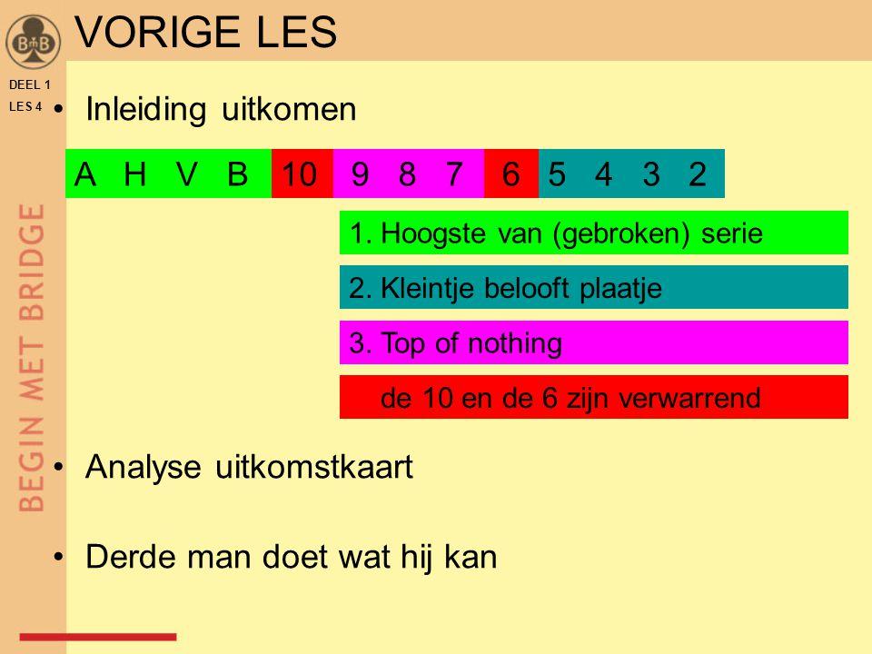 Inleiding uitkomen Analyse uitkomstkaart Derde man doet wat hij kan DEEL 1 LES 4 A H V B10 9 8 7 65 4 3 2 1. Hoogste van (gebroken) serie 2. Kleintje