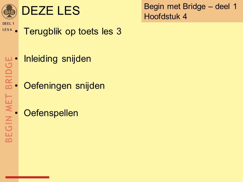 DEZE LES Terugblik op toets les 3 Inleiding snijden Oefeningen snijden Oefenspellen DEEL 1 LES 4 Begin met Bridge – deel 1 Hoofdstuk 4