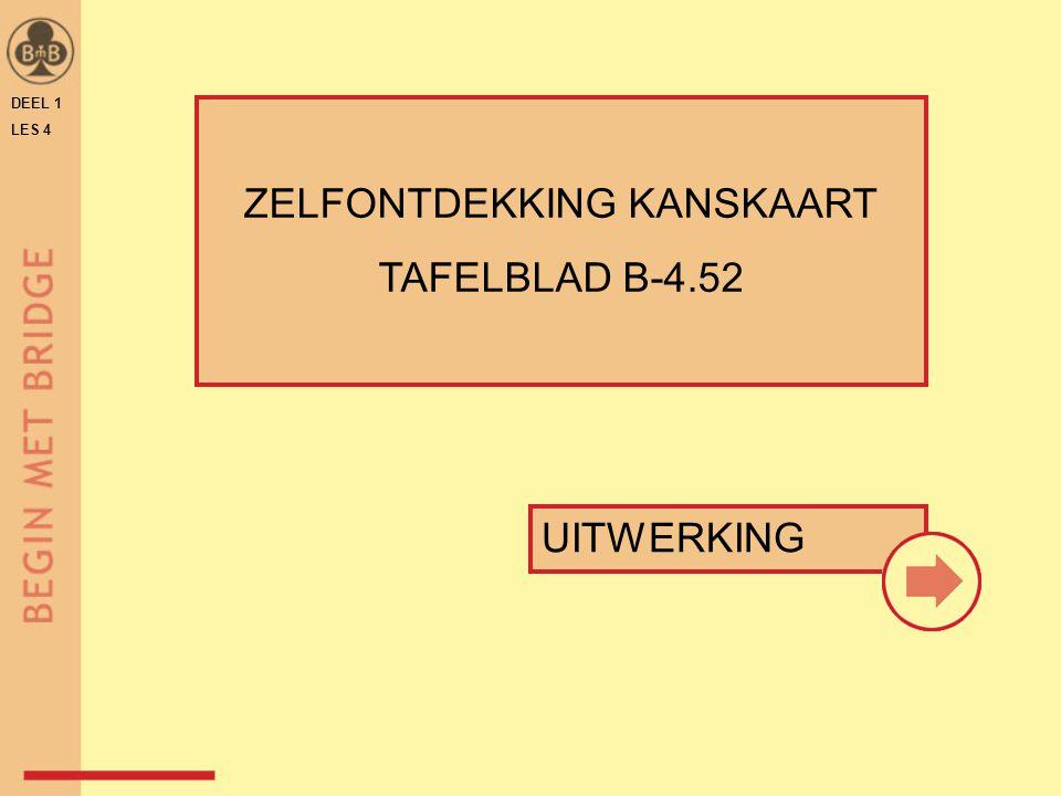 DEEL 1 LES 4 ZELFONTDEKKING KANSKAART TAFELBLAD B-4.52 UITWERKING