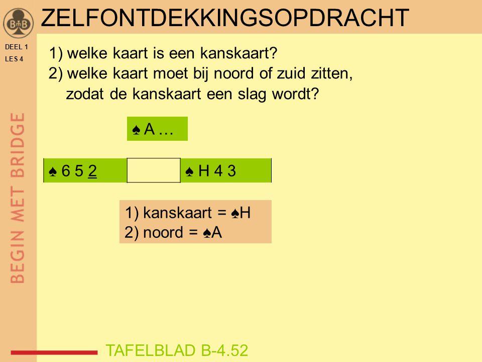 DEEL 1 LES 4 ♠ 6 5 2♠ H 4 3 1) welke kaart is een kanskaart? 2) welke kaart moet bij noord of zuid zitten, zodat de kanskaart een slag wordt? TAFELBLA