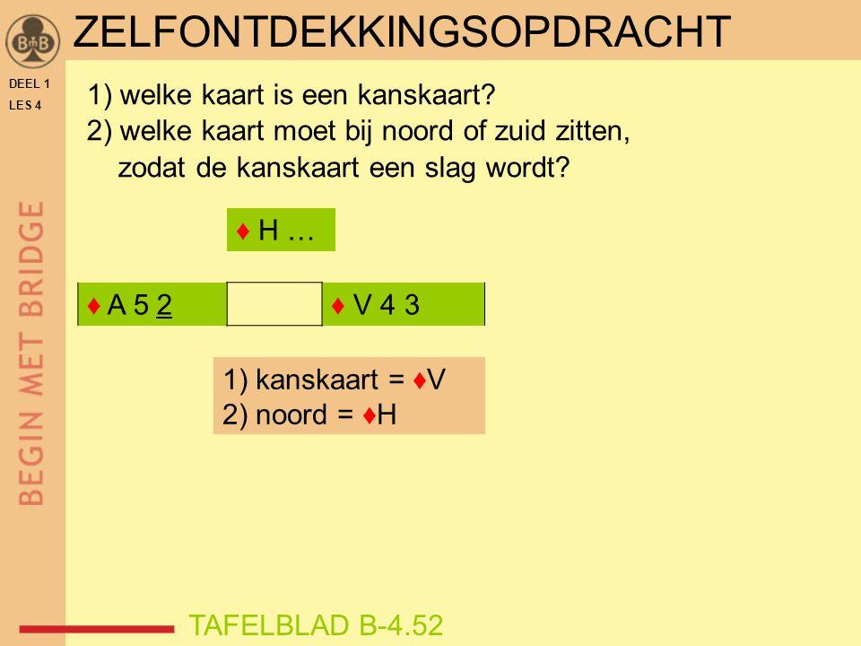 DEEL 1 LES 4 ♦ A 5 2♦ V 4 3 1) welke kaart is een kanskaart? 2) welke kaart moet bij noord of zuid zitten, zodat de kanskaart een slag wordt? TAFELBLA