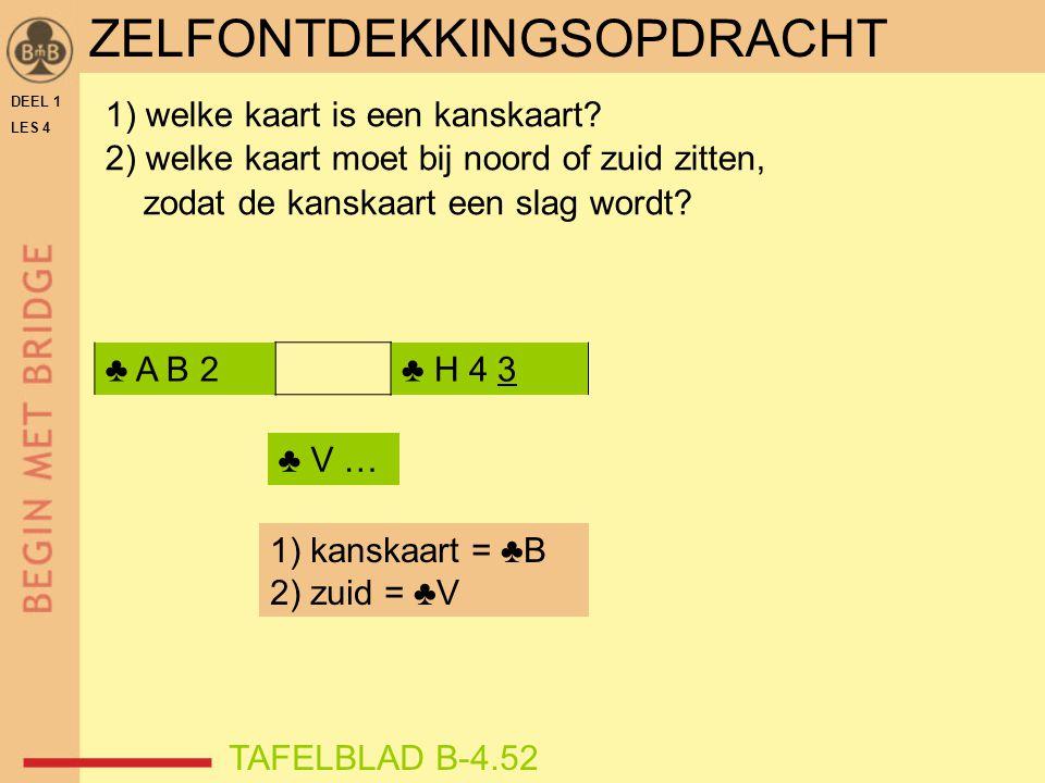 DEEL 1 LES 4 ♣ A B 2♣ H 4 3 1) welke kaart is een kanskaart? 2) welke kaart moet bij noord of zuid zitten, zodat de kanskaart een slag wordt? TAFELBLA