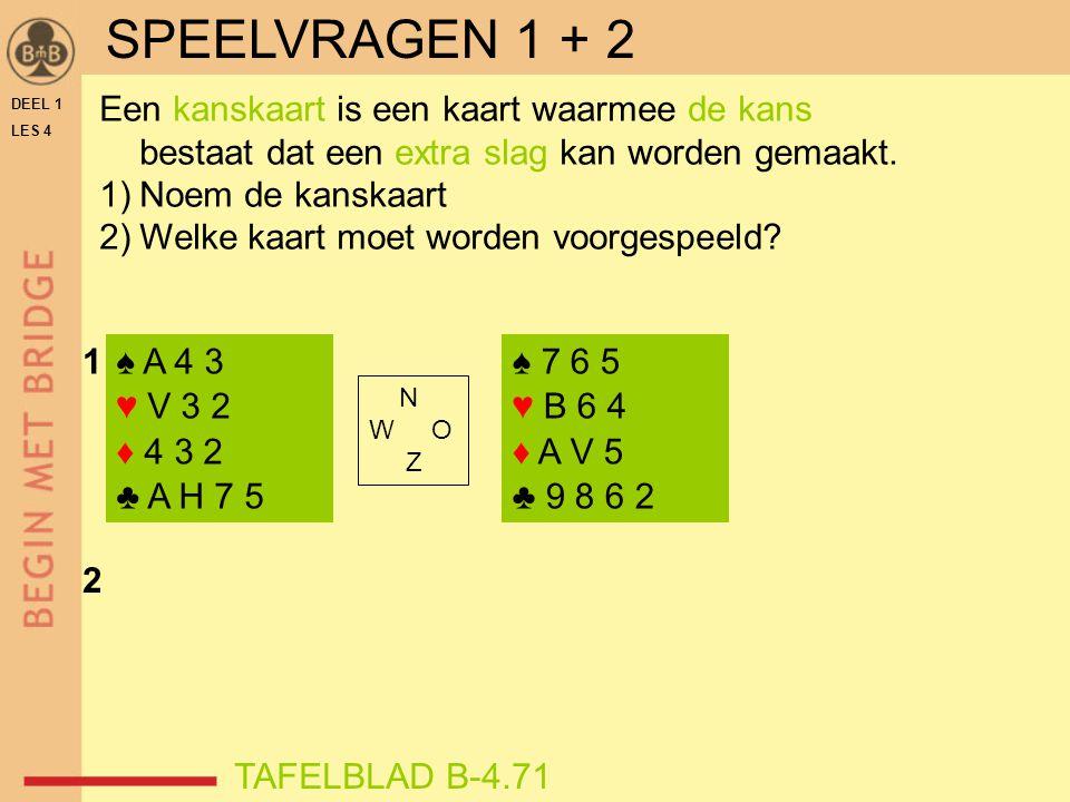 DEEL 1 LES 4 ♠ A 4 3 ♥ V 3 2 ♦ 4 3 2 ♣ A H 7 5 ♠ 7 6 5 ♥ B 6 4 ♦ A V 5 ♣ 9 8 6 2 N W O Z 1 2 Een kanskaart is een kaart waarmee de kans bestaat dat ee