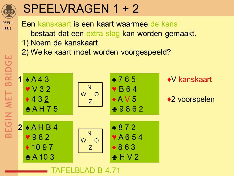 DEEL 1 LES 4 ♠ A 4 3 ♥ V 3 2 ♦ 4 3 2 ♣ A H 7 5 ♠ A H B 4 ♥ 9 8 2 ♦ 10 9 7 ♣ A 10 3 ♠ 7 6 5 ♥ B 6 4 ♦ A V 5 ♣ 9 8 6 2 ♠ 8 7 2 ♥ A 6 5 4 ♦ 8 6 3 ♣ H V 2