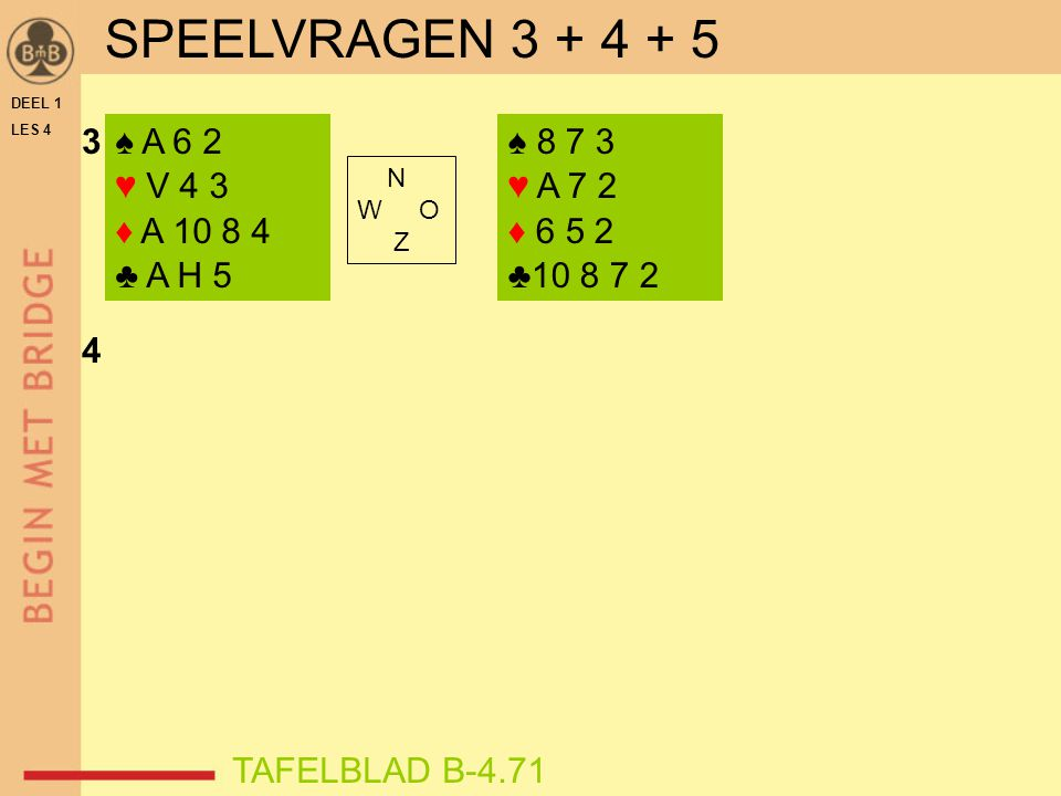DEEL 1 LES 4 ♠ A 6 2 ♥ V 4 3 ♦ A 10 8 4 ♣ A H 5 ♠ 8 7 3 ♥ A 7 2 ♦ 6 5 2 ♣10 8 7 2 N W O Z 4 3 TAFELBLAD B-4.71 SPEELVRAGEN 3 + 4 + 5