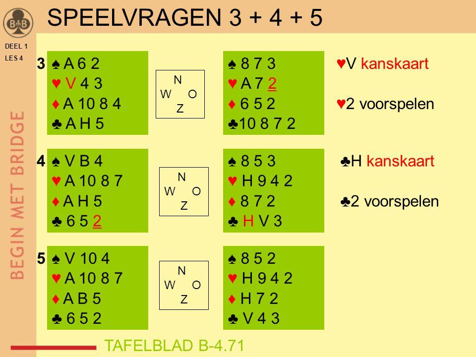 DEEL 1 LES 4 ♠ A 6 2 ♥ V 4 3 ♦ A 10 8 4 ♣ A H 5 ♠ V B 4 ♥ A 10 8 7 ♦ A H 5 ♣ 6 5 2 ♠ V 10 4 ♥ A 10 8 7 ♦ A B 5 ♣ 6 5 2 ♠ 8 7 3 ♥ A 7 2 ♦ 6 5 2 ♣10 8 7