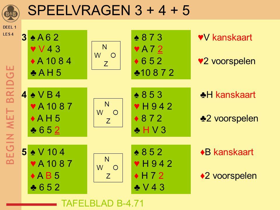 DEEL 1 LES 4 ♠ A 6 2 ♥ V 4 3 ♦ A 10 8 4 ♣ A H 5 ♠ V B 4 ♥ A 10 8 7 ♦ A H 5 ♣ 6 5 2 ♠ 8 7 3 ♥ A 7 2 ♦ 6 5 2 ♣10 8 7 2 ♠ 8 5 3 ♥ H 9 4 2 ♦ 8 7 2 ♣ H V 3