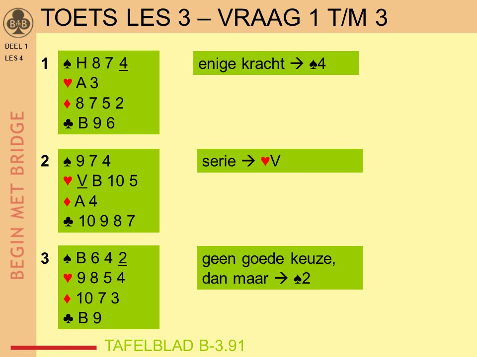 DEEL 1 LES 4 ♠ H 8 7 4 ♥ A 3 ♦ 8 7 5 2 ♣ B 9 6 ♠ 9 7 4 ♥ V B 10 5 ♦ A 4 ♣ 10 9 8 7 1enige kracht  ♠4 2 3geen goede keuze, dan maar  ♠2 serie  ♥V ♠