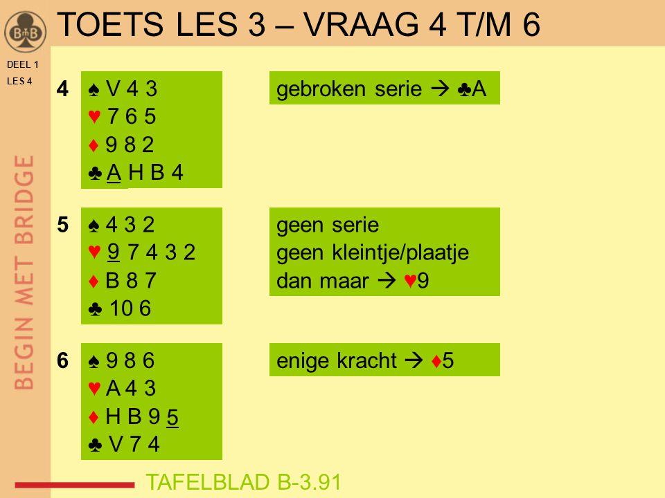 DEEL 1 LES 4 ♠ V 4 3 ♥ 7 6 5 ♦ 9 8 2 ♣ A H B 4 ♠ 9 8 6 ♥ A 4 3 ♦ H B 9 5 ♣ V 7 4 4 5 6enige kracht  ♦5 gebroken serie  ♣A ♠ 4 3 2 ♥ 9 7 4 3 2 ♦ B 8