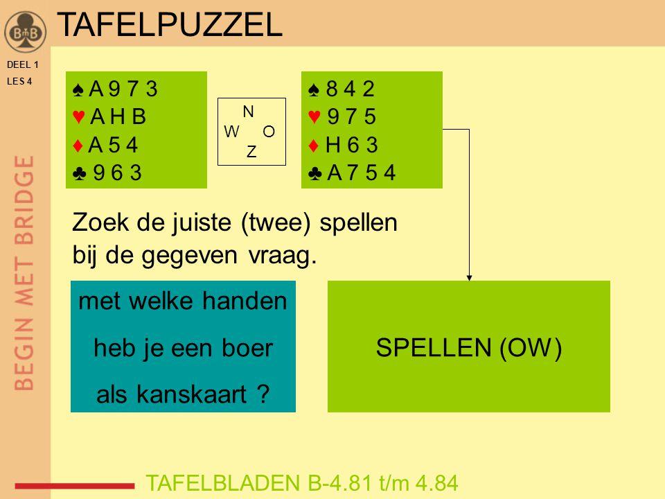 DEEL 1 LES 4 ♠ A 9 7 3 ♥ A H B ♦ A 5 4 ♣ 9 6 3 TAFELBLADEN B-4.81 t/m 4.84 Zoek de juiste (twee) spellen bij de gegeven vraag. met welke handen heb je