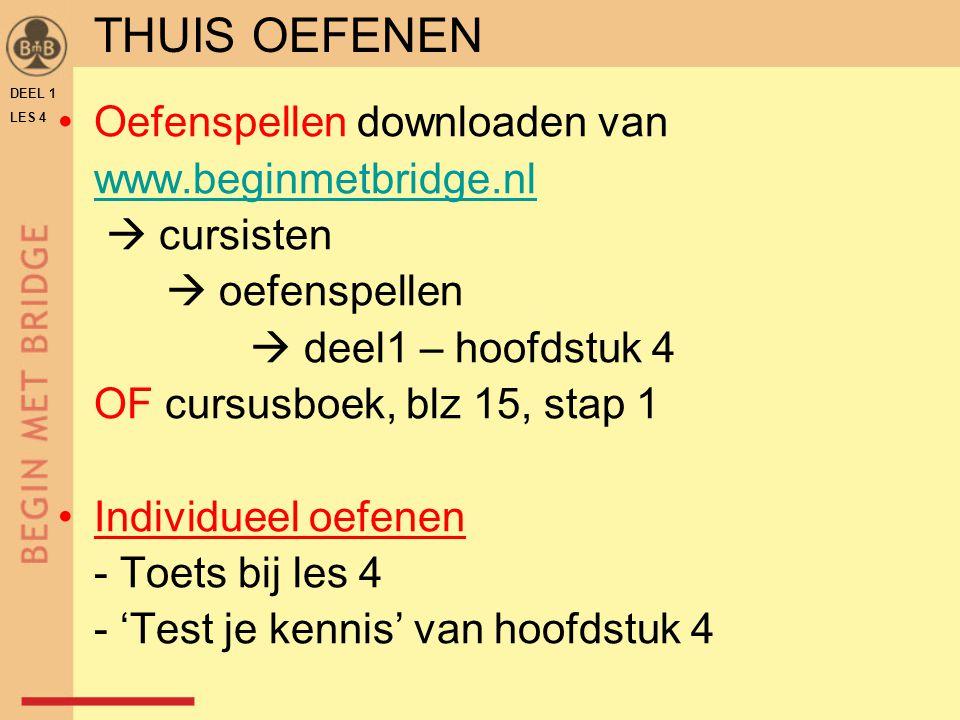 Oefenspellen downloaden van www.beginmetbridge.nl  cursisten  oefenspellen  deel1 – hoofdstuk 4 OF cursusboek, blz 15, stap 1 Individueel oefenen -
