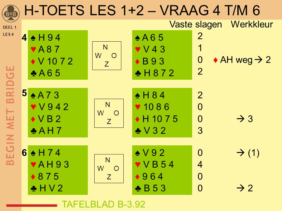 DEEL 1 LES 4 ♠ H 9 4 ♥ A 8 7 ♦ V 10 7 2 ♣ A 6 5 ♠ A 7 3 ♥ V 9 4 2 ♦ V B 2 ♣ A H 7 ♠ H 7 4 ♥ A H 9 3 ♦ 8 7 5 ♣ H V 2 ♠ A 6 5 ♥ V 4 3 ♦ B 9 3 ♣ H 8 7 2