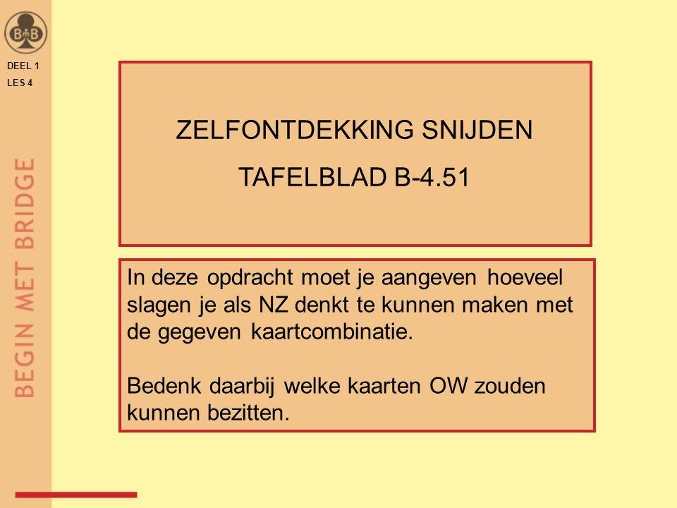 DEEL 1 LES 4 ZELFONTDEKKING SNIJDEN TAFELBLAD B-4.51 In deze opdracht moet je aangeven hoeveel slagen je als NZ denkt te kunnen maken met de gegeven k