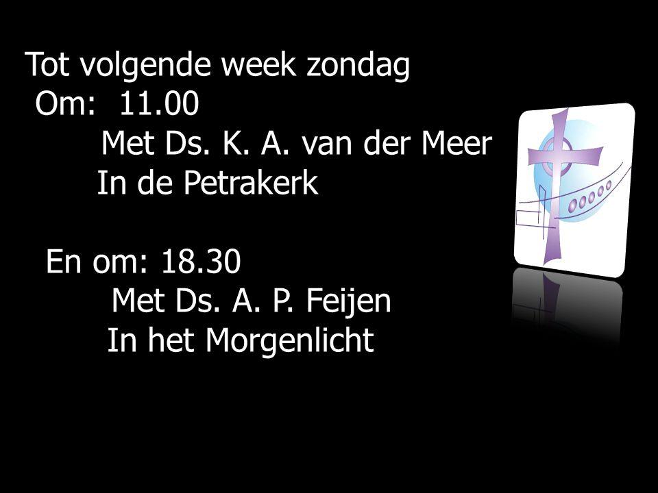 Tot volgende week zondag Om: 11.00 Om: 11.00 Met Ds. K. A. van der Meer Met Ds. K. A. van der Meer In de Petrakerk In de Petrakerk En om: 18.30 En om: