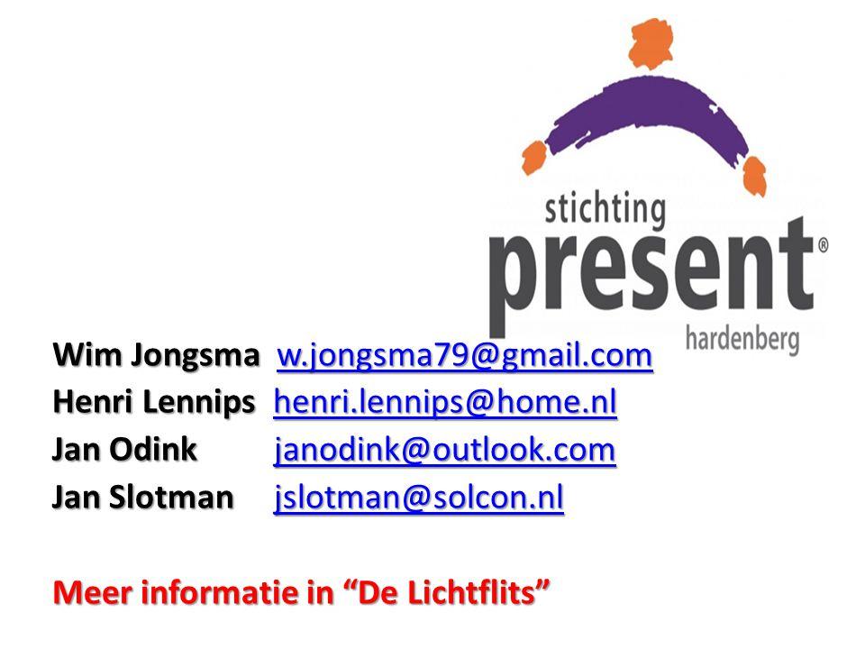 Wim Jongsma w.jongsma79@gmail.com w.jongsma79@gmail.com Henri Lennips henri.lennips@home.nl henri.lennips@home.nl Jan Odink janodink@outlook.com janod