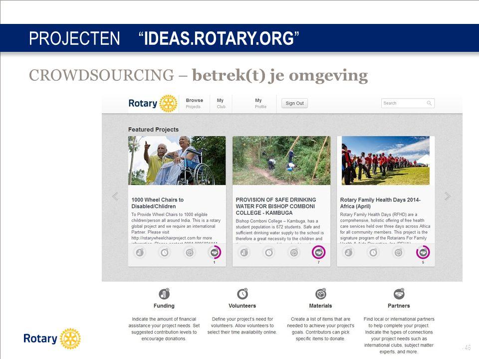 Distrcit Infodag okt 2014 46 PROJECTEN IDEAS.ROTARY.ORG CROWDSOURCING – betrek(t) je omgeving