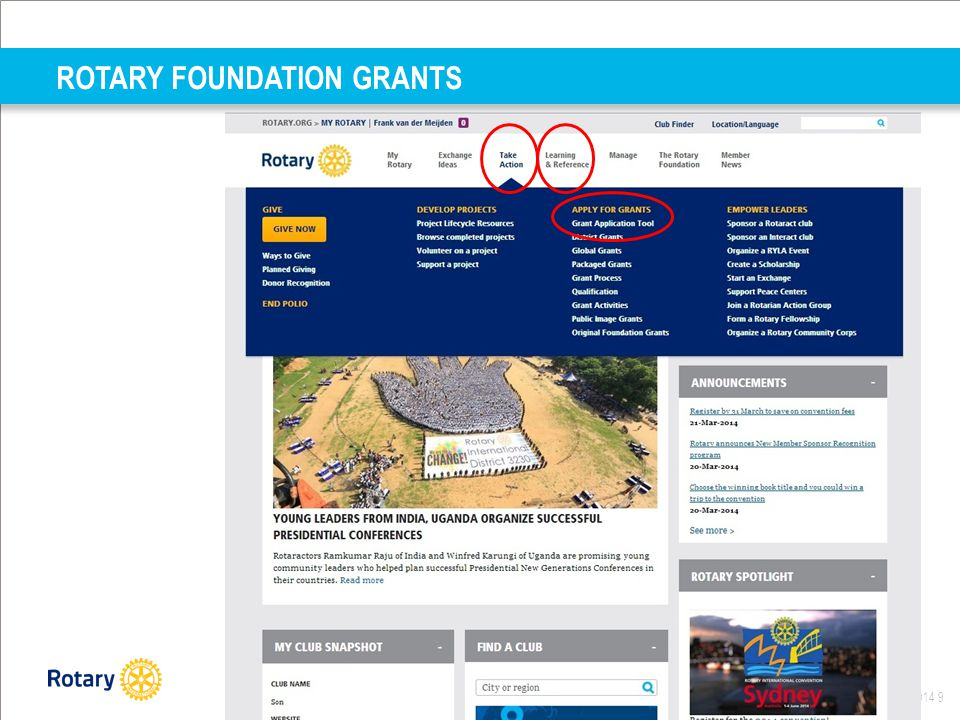 Distrcit Infodag okt 2014 9 ROTARY FOUNDATION GRANTS