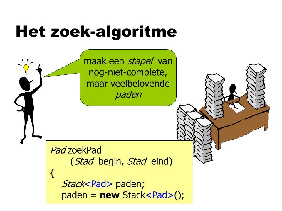 Het zoek-algoritme maak een stapel van nog-niet-complete, maar veelbelovende paden Pad zoekPad (Stad begin, Stad eind) { Stack paden; paden = new Stack ();