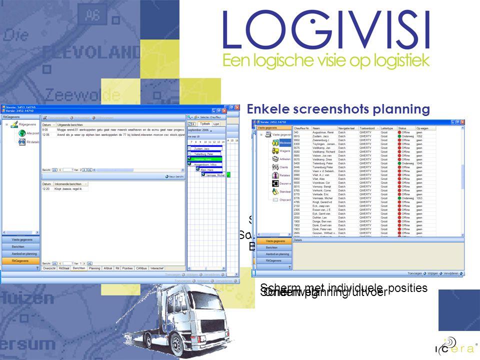 Enkele screenshots planning Scherm met alle posities Scherm met individuele posities Scherm met realtime vrachtwagengegevens Scherm planning/uitvoer Berichten per rit Onderweg