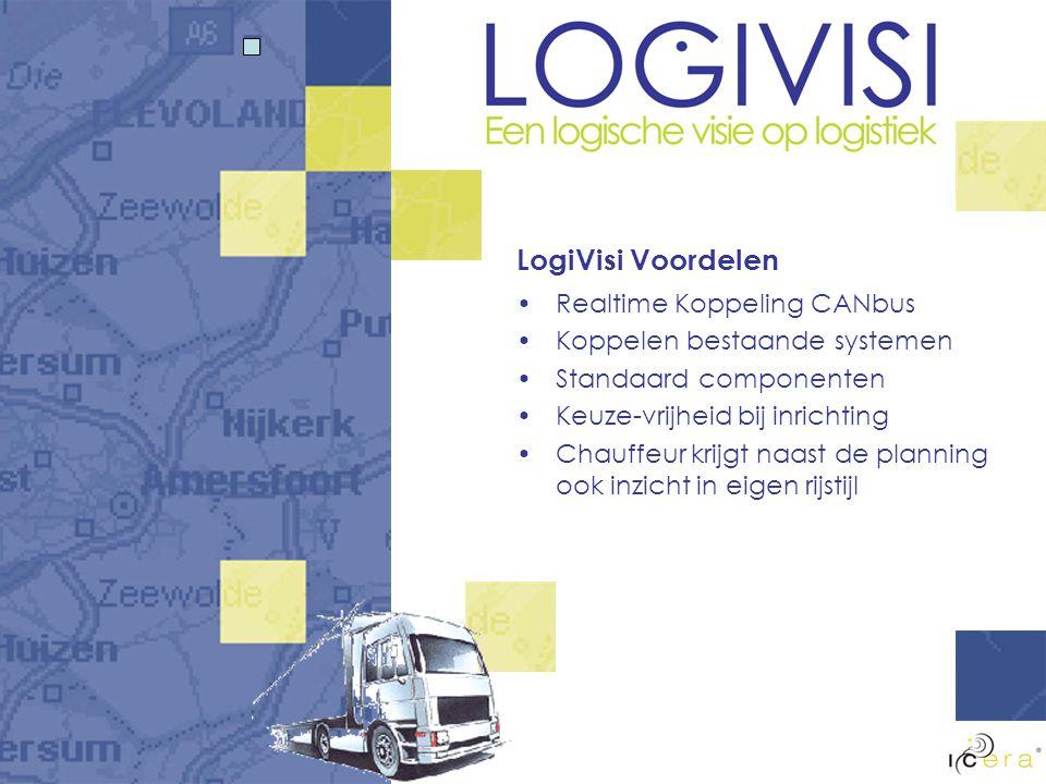 LogiVisi Voordelen Realtime Koppeling CANbus Koppelen bestaande systemen Standaard componenten Keuze-vrijheid bij inrichting Chauffeur krijgt naast de planning ook inzicht in eigen rijstijl
