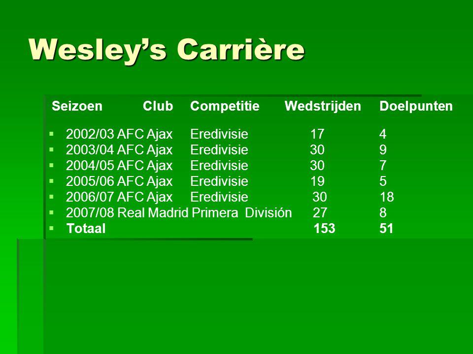 Wesley's Carrière SeizoenClubCompetitieWedstrijdenDoelpunten   2002/03 AFC AjaxEredivisie 17 4   2003/04 AFC AjaxEredivisie 30 9   2004/05 AFC A